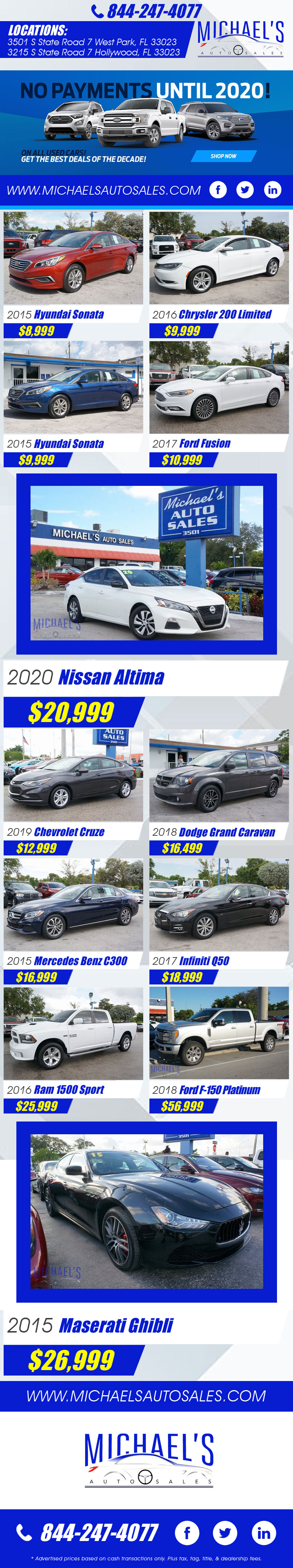 Visit us for our specials at Michael's Auto Sales